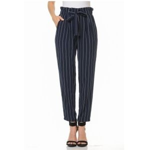 Ambiance Pants - Ambiance BELTED TIE-FRONT STRIPED HIGH WAIST PAPER